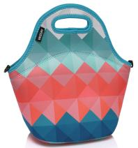 VASCHY Reusable Lunch Tote Bag for Women and Girls Kids Large Capacity with Detachable Adjustable Shoulder Strap for Work in Retro Triangle
