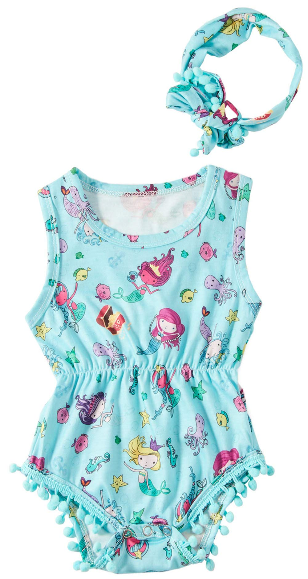 TUONROAD Newborn Toddler Baby Girls Floral Sleeveless Bodysuit Romper Pompom Jumpsuit Outfits Set with Headband 0-24M