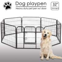 """Dog Pen 8 Panel Folding Portable Pet Playpen with Door Heavy Duty Metal Puppy Dog Exercise Pen Indoor Outdoor Dog Fence Kennel for Small-Large Dogs, 24"""",32"""",40"""""""