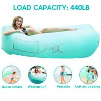 YXwin Inflatable Lounger Air Sofa Hammock, 440lb Anti-Leak Waterproof Portable Beach Chair Pouch Couch Bed with Inflatable Pillow for Pool Backyard Lakeside Traveling Camping Picnics Music Festivals