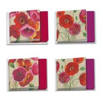 Painted Poppies - 12 Boxed Happy Birthday Cards with Envelopes (4 x 5.12 Inch) - Colorful Flowers, Assorted Floral Bday Greeting Notecards - Elegant Stationery for Birthdays MQ4548BDG-B3x4