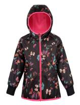 Therm Girls Rain Jacket, Waterproof Fleece Lined Hoodie Raincoat - Eco Softshell Winter Coat for Kids - Size 8, 10, 12