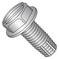 """410 Stainless Steel Thread Cutting Screw, Plain Finish, Hex Washer Head, Slotted Drive, Type F, #10-32 Thread Size, 3/4"""" Length (Pack of 25)"""