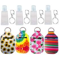 Hand Sanitizer Keychain Holder, Topcent 4Pcs Small Empty Travel Size Bottle Refillable Containers for Soap, Lotion, and Liquids - 30 ML Flip Cap Reusable Bottles with Keychain Carriers (Style B)