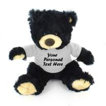 Plushland Black Noah Teddy Bear 12 Inch, Stuffed Animal Personalized Gift - Custom Text on Shirt - Great Present for Mothers Day, Valentine Day, Graduation Day, Birthday (White Shirt)