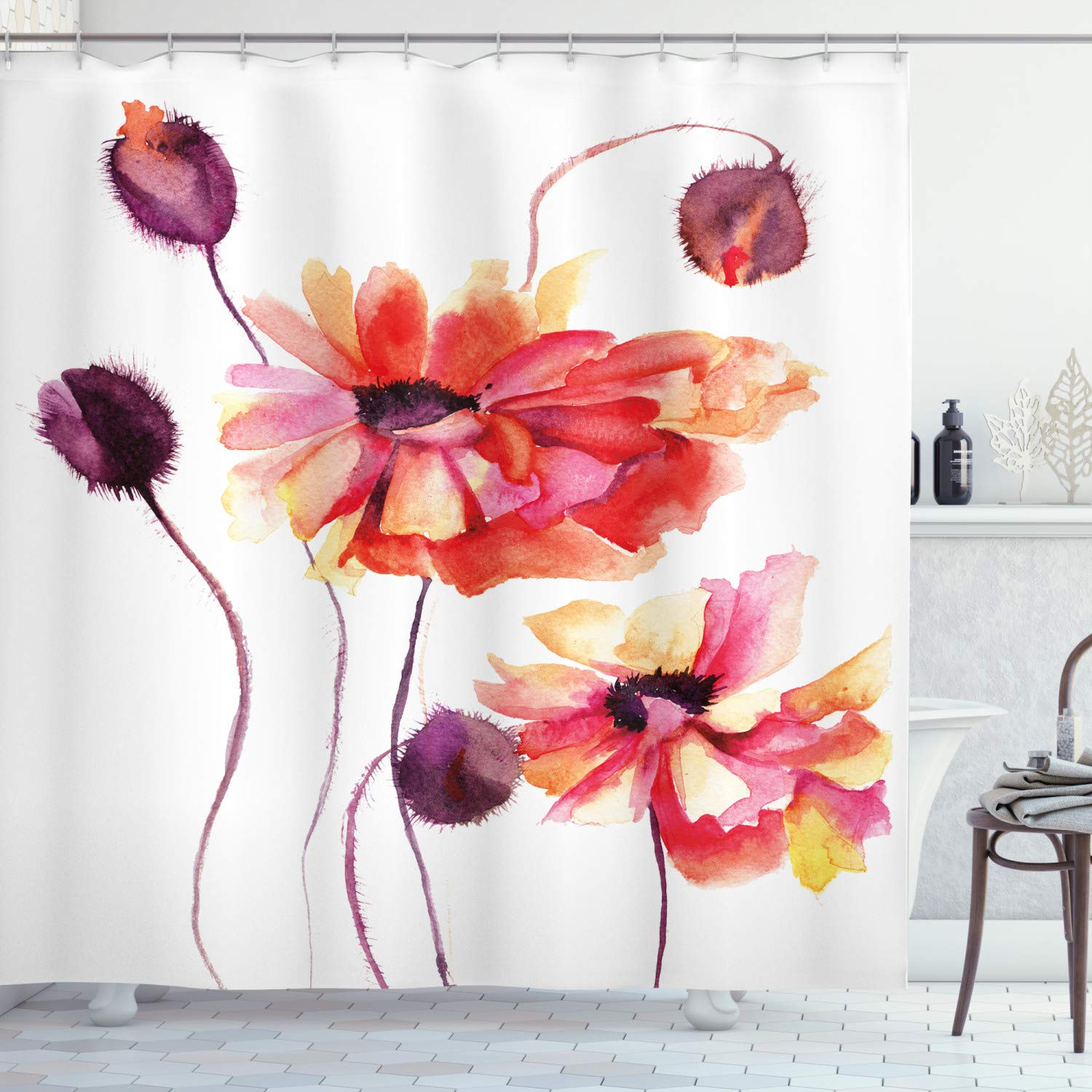"""Ambesonne Floral Shower Curtain, Watercolor Painting Poppy Flowers and Buds Spring Nature Design, Cloth Fabric Bathroom Decor Set with Hooks, 84"""" Long Extra, Peach Scarlet"""