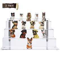 CECOLIC Acrylic Display Stand, Large 4-Step Clear Display Riser Shelf for Funko Pops Figures, Cupcake and Other Products for Cabinet or Table - 2 Pack(11.8in x 6.3in)