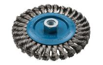 Walter 13L614 Knot Twisted Wire Wheel Brush - 6 in. Stainless Steel Finishing Wire Brush with Threaded Hole. Abrasive Brushes