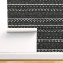 Spoonflower Pre-Pasted Removable Wallpaper, Mudcloth Modern Tribal African Print, Water-Activated Wallpaper, 12in x 24in Test Swatch