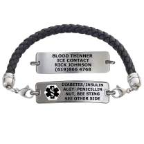 Divoti Custom Engraved Medical Alert Bracelets for Women, Stainless Steel Medical Bracelet, Medical ID Bracelet w/Free Engraving – Classic Tag w/Black Braided Leather Chain – Color/Size