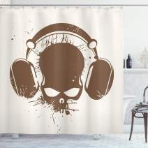 "Ambesonne Music Shower Curtain, Skull with Headphones Listening Dead DJ Grunge Retro Style Graphic Print, Cloth Fabric Bathroom Decor Set with Hooks, 70"" Long, Caramel Cream"