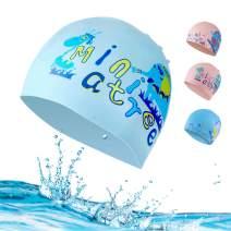 Kids Swim Cap Boy Swimming Girls Bathing Cap - Silicone Long Hair Children Waterproof Swim Hat Cap for Age 6-15