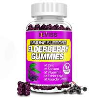 Organic Black Elderberry Gummies for Immune Support, Vegan Sambucus Elderberry Extract Gummies for Kids Adults Toddlers