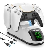 PS5 Controller Quick Charger, Likorlove Dual USB Fast Charging Dock Station Stand for Playstation 5 DualSense Controllers Console with LED Indicator USB Type C Ports, White [2.5-3 Hours]