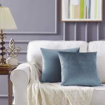 GIGIZAZA Decorative Throw Pillow Covers 16x16,Grey Blue Square Couch Pillow Covers,Velvet Sofa Boho Cushion Pillows