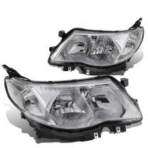 DNA Motoring HL-OH-SFOR09-CH-CL1 Pair Chrome/Clear Headlight/Lamps (for 09-13 Subaru Forester)