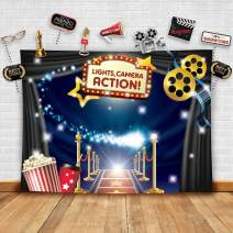 Hollywood - Movie Theme Photography Backdrop and Studio Props DIY Kit. Great as Dress-up and Awards Night Ceremony Photo Booth Background, Vintage Costume Birthday Party Supplies and Event Decorations