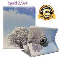 iPad 2/3/4 Case - 360 Degree Rotating Stand Smart Case Protective Cover with Auto Wake Up/Sleep Feature for Apple iPad 4, iPad 3 & iPad 2 (Snow)