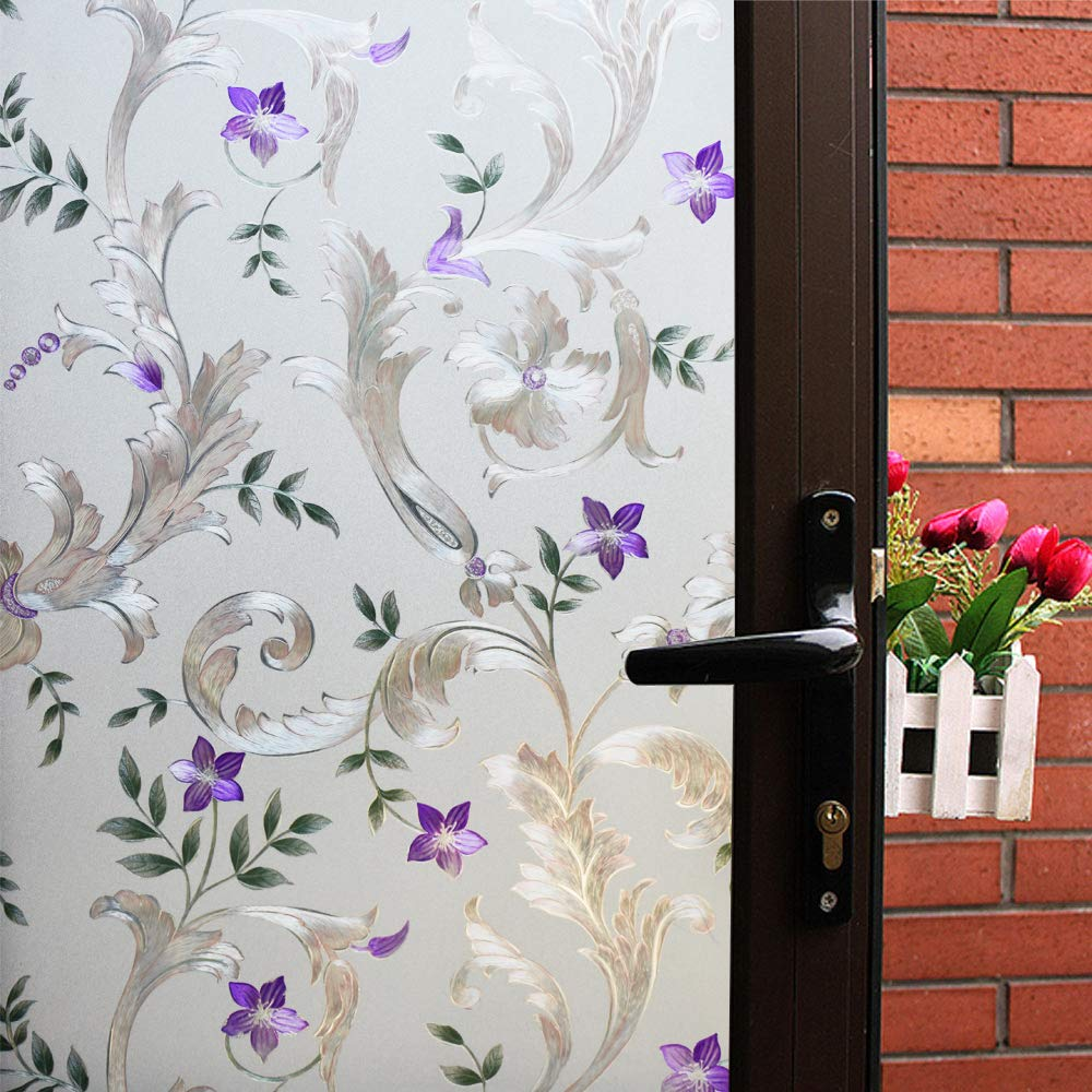 Mikomer Decorative Window Film Purple Flower,Privacy Door Film,Static Cling Glass Film,No Glue Stained Glass Anti UV Window Paper for Bathroom,Office,Meeting Room,Bedroom,35 inches by 78.7 inches