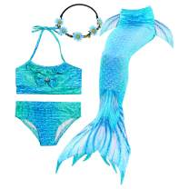 Mermaid Tail for Swimming Girls with Optional Blue Monofin Kids Pool Swimsuit Toddler Bathing Suit with Fins.