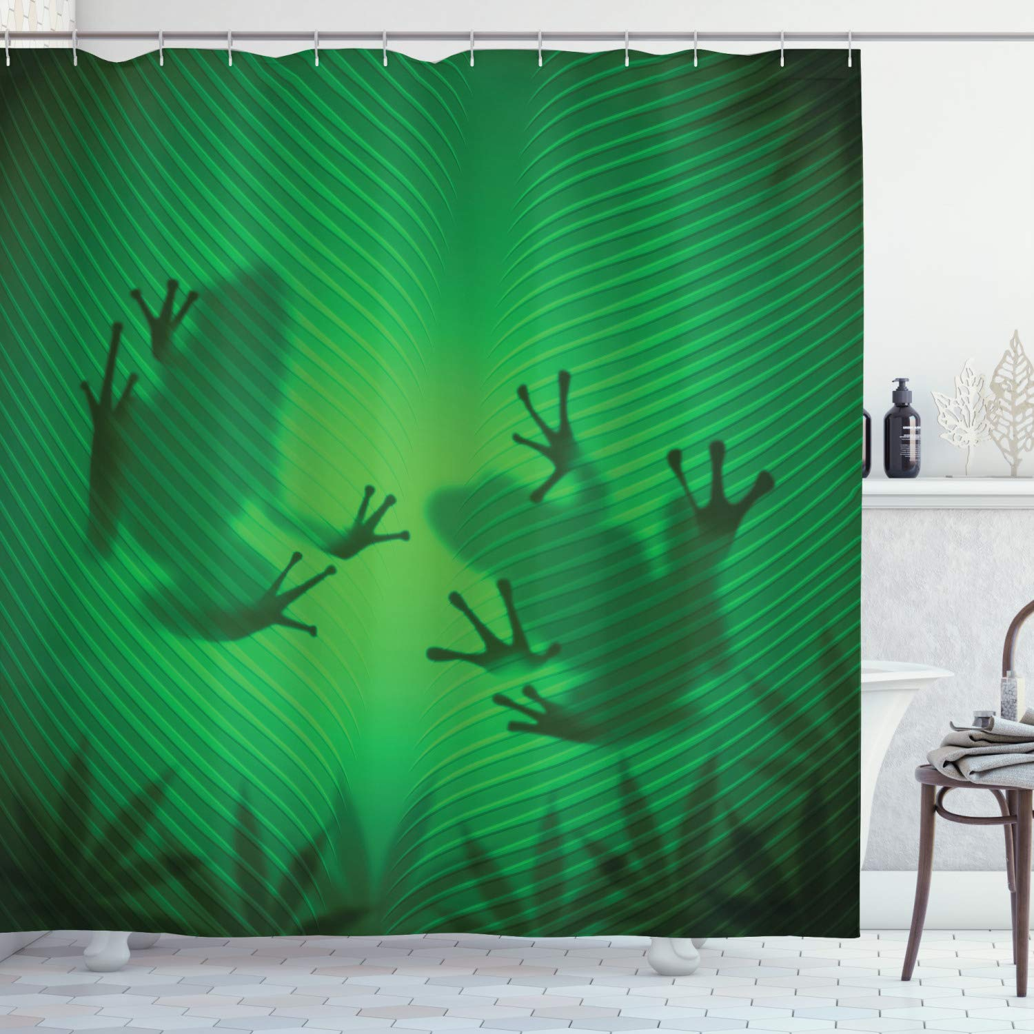 """Ambesonne Animal Shower Curtain, Frog Shadow Silhouette on The Banana Tree Leaf in Tropical Lands Jungle Games Graphic, Cloth Fabric Bathroom Decor Set with Hooks, 84"""" Long Extra, Shades of Green"""
