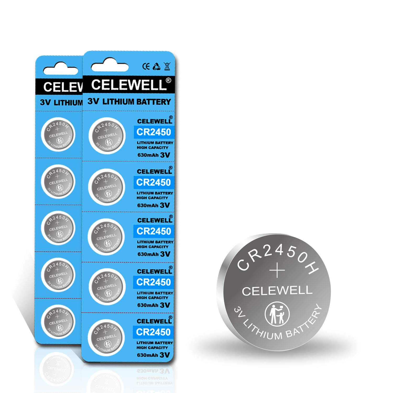 【5-Year Warranty】 CELEWELL 10 Pack CR2450 CR 2450 3V Lithium Battery High Capacity CR2450H 630mAh (Not CR2450N)