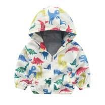 Boys Cartoon Dinosaur Jackets Spring Zip Kids Mesh Lined Hooded Windproof for Toddler Light Outwear