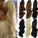 Claw Ponytail Extension Short Curly Wave 145G Thick Jaw Ponytails Pony Tail Hairpiece Clip in Hair Extensions Real Natural as Human Synthetic Fibre for Women 18 inch bleach blonde
