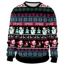 Unisex Ugly Christmas Sweatshirt Novelty Sweater Men Women 3D Print Funny Xmas Pullover Crewneck/Hoodie