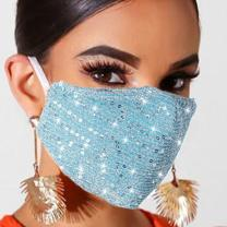 Sparkly Sequins Face Masc for Women Glitter Mesh Mouth Cover Bling Party Facial Decoration Halloween Costume Face Bandana