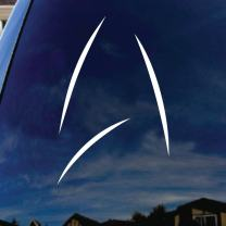 "SoCoolDesign Star Inspired Symbol Federation Car Window Vinyl Decal Sticker 5"" Tall (White)"