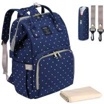 Qimiaobaby Diaper Bag Backpack, baby Nappy storage bag (Blue dot)