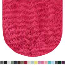 Gorilla Grip Original Luxury Chenille Oval Bath Rug Mat, 42x24, Extra Soft and Absorbent Large Shaggy Bathroom Rugs, Machine Wash Dry, Plush Carpet Mats for Tub, Shower, and Bath Room, Hot Pink