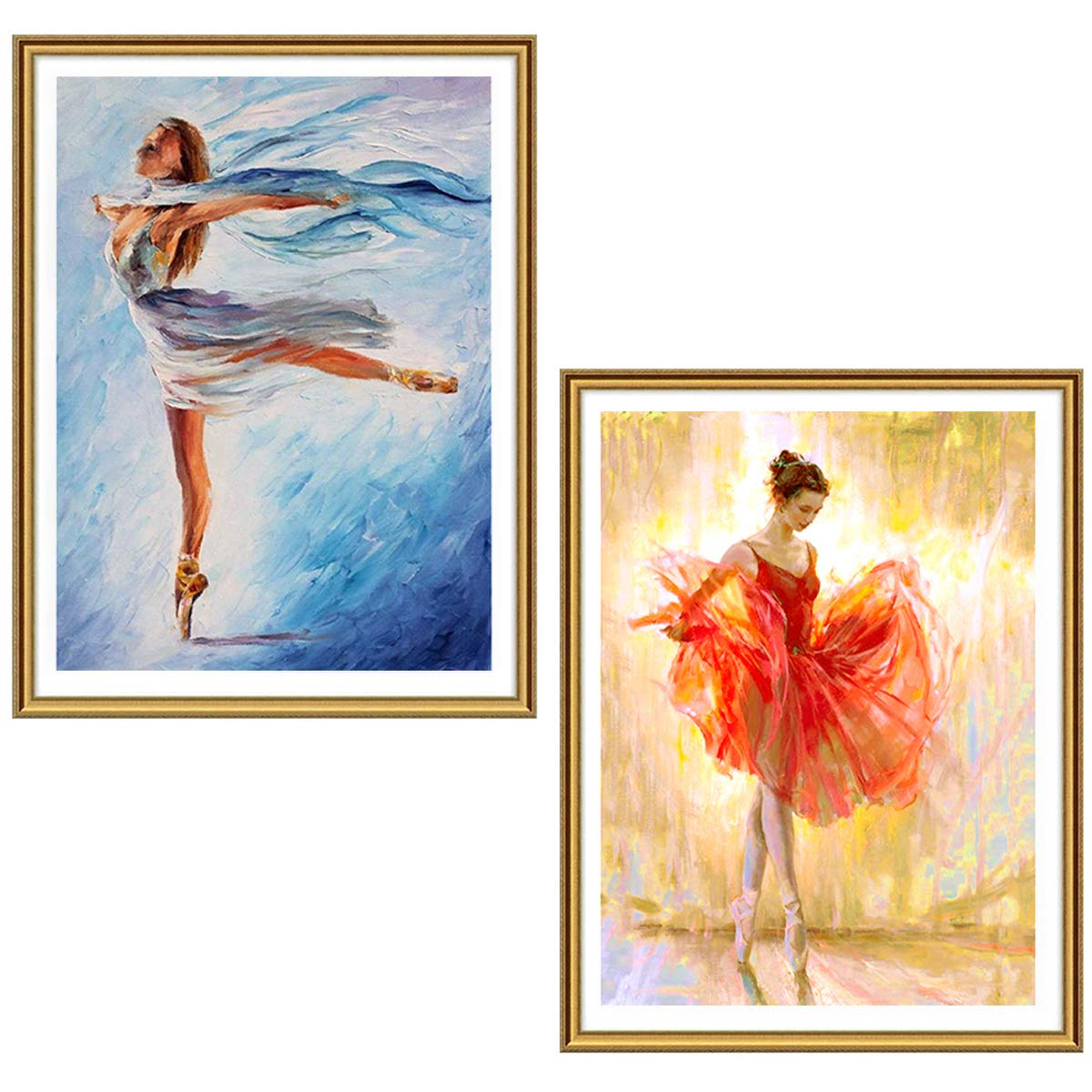 Ginfonr 2 Pack 5D Diamond Painting Dancers by Number Kits, Ballerina Paint with Diamonds Full Drill Art Crystal DIY Embroidery Rhinestone Decor Craft (12x16 inch)