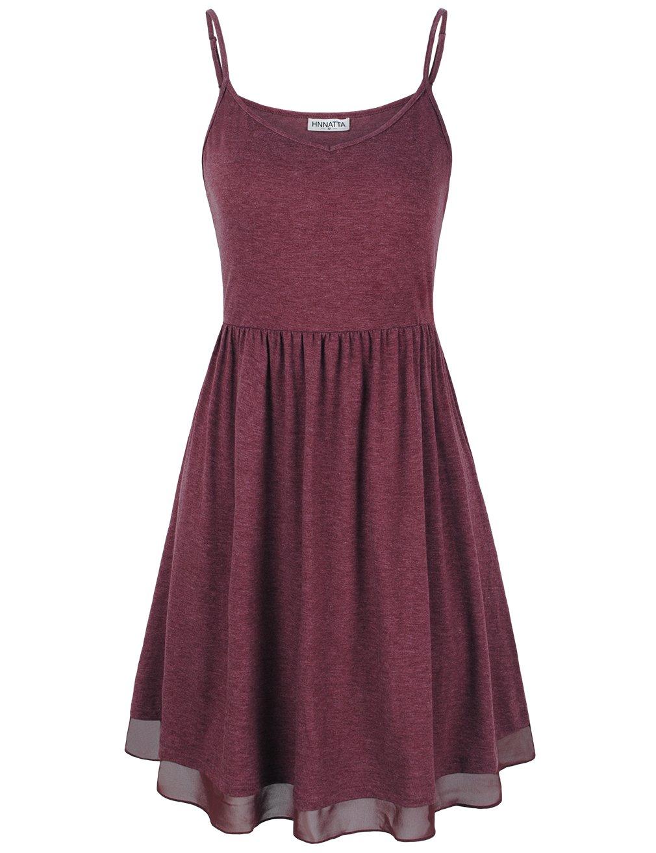 HNNATTA Sundress, Camisole Dress Loose Fit Women A-line Tunic V Neck Skater Dress Red