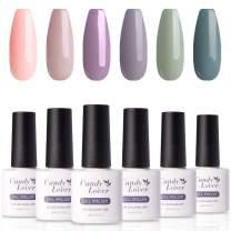 Candy Lover Popular Gel Nail Polish, Purple Green Peach Pastel UV LED Selected 6 Fall Colors Set - Soak Off Nail Gel Polish Home Manicure Varnish Autumn Kit
