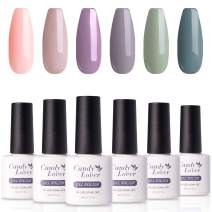 Candy Lover Popular Gel Nail Polish, Purple Green Peach Pastel UV LED Selected 6 Fall Colors Set - Soak Off Nail Gel Polish Home Manicure Varnish Autumn Kit