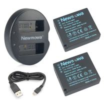 DMW-BLE9 Newmowa Replacement Battery (2 Pack) and Dual USB Charger for Panasonic DMW-BLE9, DMW-BLG10 and Panasonic Lumix DMC-ZS60, DMC-ZS100, DMC-LX100,DC-LX100 II,DMC-GF3, DMC-GF5, DMC-GF6, DMC-GX7