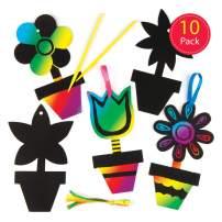 Baker Ross Flower Scratch Art Kit, Hanging Decorations for Children to Design & Display (Pack of 10)