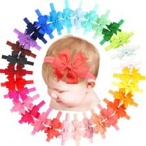"""30PCS Colors Baby Girls Headbands with 3"""" Hair Bows Elastic Hair bands for Newborn Infants Toddlers"""
