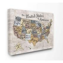 The Kids Room by Stupell United States Map Typography Canvas Art, 16 x 1.5 x 20, Proudly Made in USA