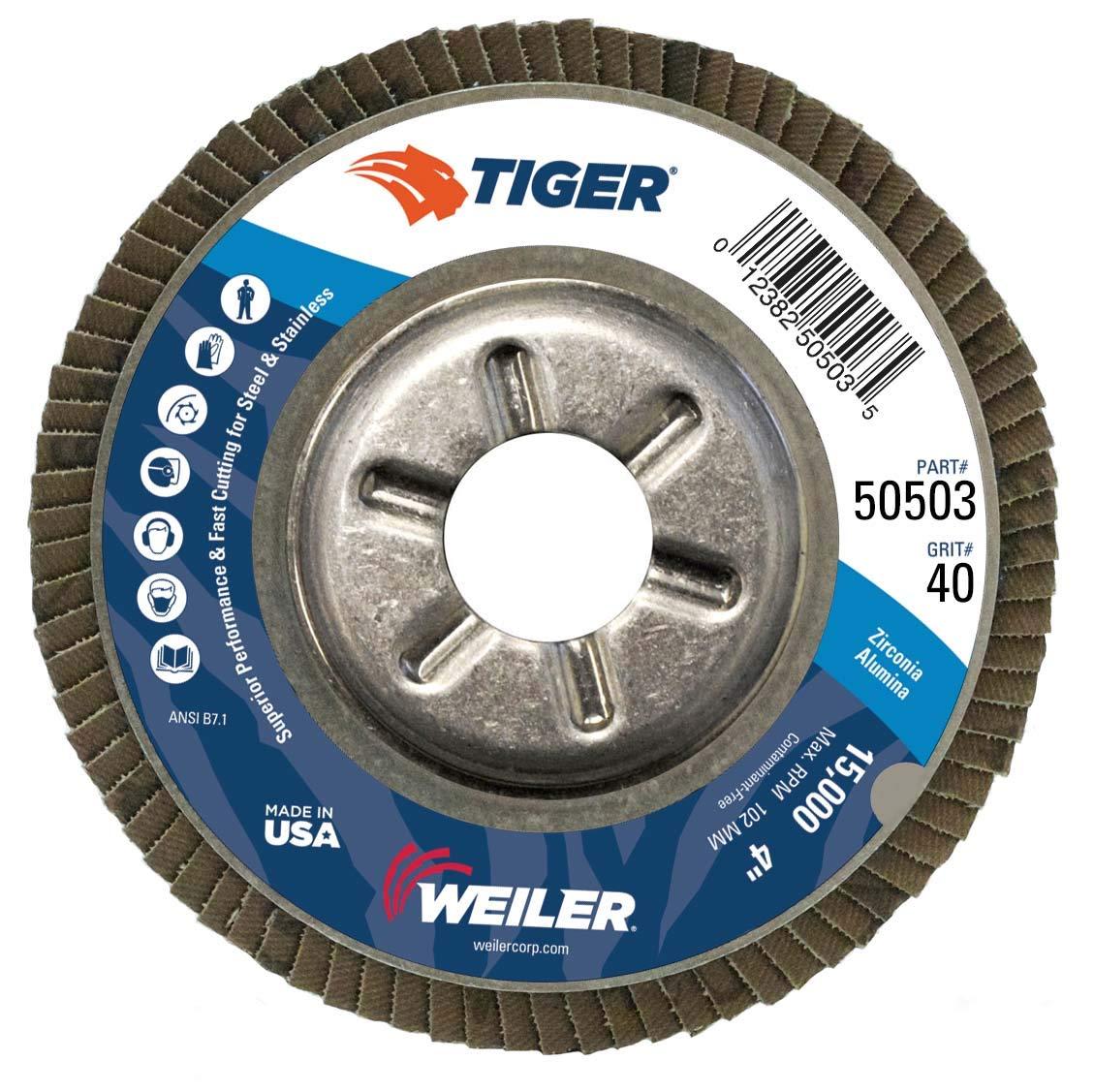 """Weiler 50503 Tiger Abrasive Flap Disc, Type 29, Round Hole, Aluminum Backing, Zirconia Alumina, 4"""" Dia., 40 Grit"""
