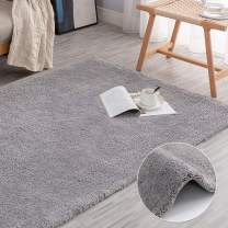 """jinchan Plush Area Rug Modern Home DecorationFluffy Warm for Girl's Room Bedroom Luxe Area RugCozy Solid Shag Rug Indoor Soft Mat for Living Room Nursery 4'x 6'7"""" Gray"""