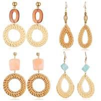 Rattan Earrings Handmade Straw Statement Bohemian Lightweight Drop Dangle Geometric Woven Wicker Earring For Women Girls