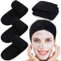 Spa Facial Headband Whaline Head Wrap Terry Cloth Headband 4 Counts Stretch Towel for Bath, Makeup and Sport (Black)