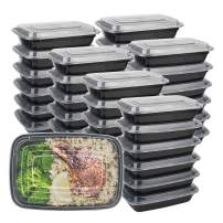 Meal Prep Containers Reusable, 50-Pack 24 OZ Plastic Food Containers with Lids For Meal Prepping - Durable BPA Free Food Storage Containers Lunch Boxes- Stackable, Reusable Dishwasher Safe
