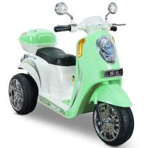 Kidzone Ride On Motorcycle Toy for Toddlers Aged 3+ Years - 6V Battery-Powered 3-Wheel Power Scooter with Music, Headlight, Horn, Storage Trunk, Key Switch - for Boys & Girls, Light Green
