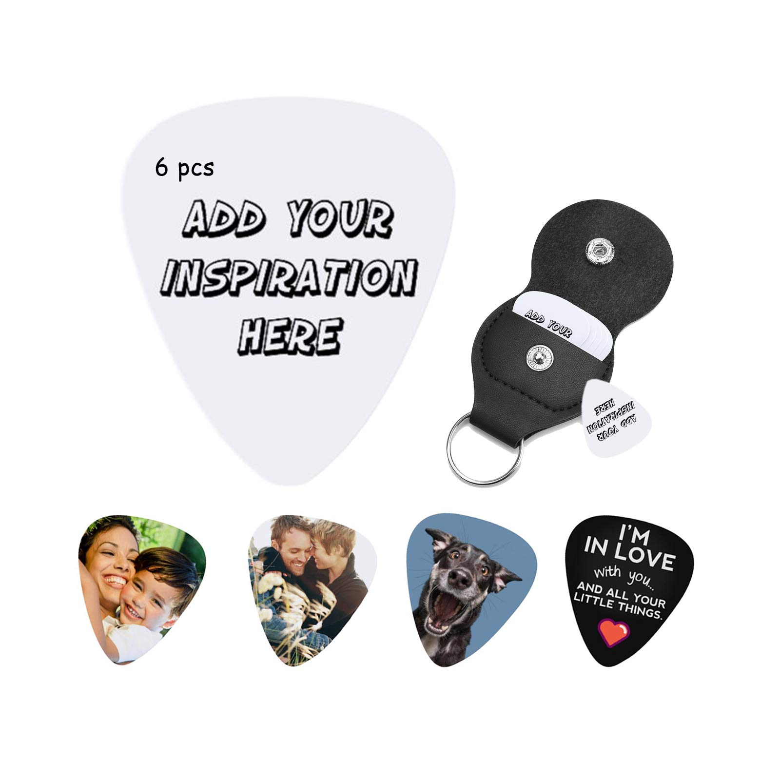 Personalized CustomGuitar Picks - Full-Color Custom Guitar Picks with Your Photo or Design. Durable Material with Detailed Print. Great Gift for Any Musician.6 PCS-Thickness(0.46mm)