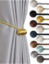 SBRO Gold Bright 2pcs Strong Magnetic Curtain Tiebacks Modern Upgrade Unique 2021 Drape Tie Backs Decorative Twisted Handmade Rope Holdback for All Window Draperies (2, Gold Bright)