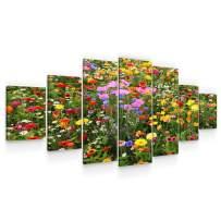 """STARTONIGHT Huge Canvas Wall Art - Flower Field - USA Large Home Decor - Dual View Surprise Artwork Modern Framed Wall Art Set of 7 Panels Total 40"""" x 95"""""""
